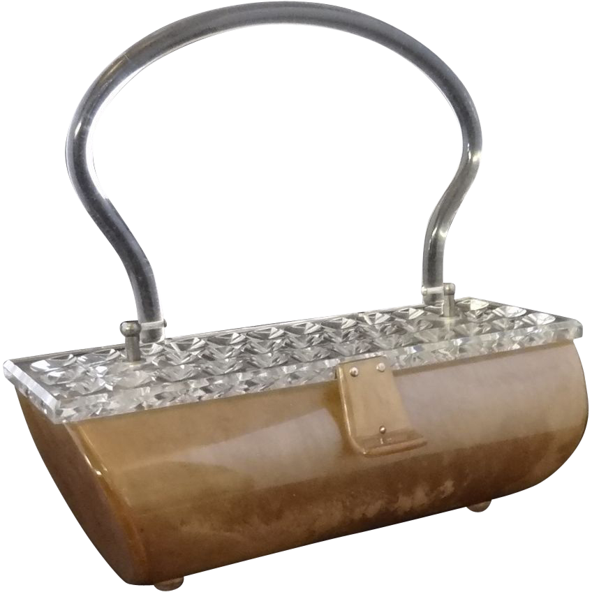 Marbled Champagne Lucite Purse with Clear Carved Lucite Lid