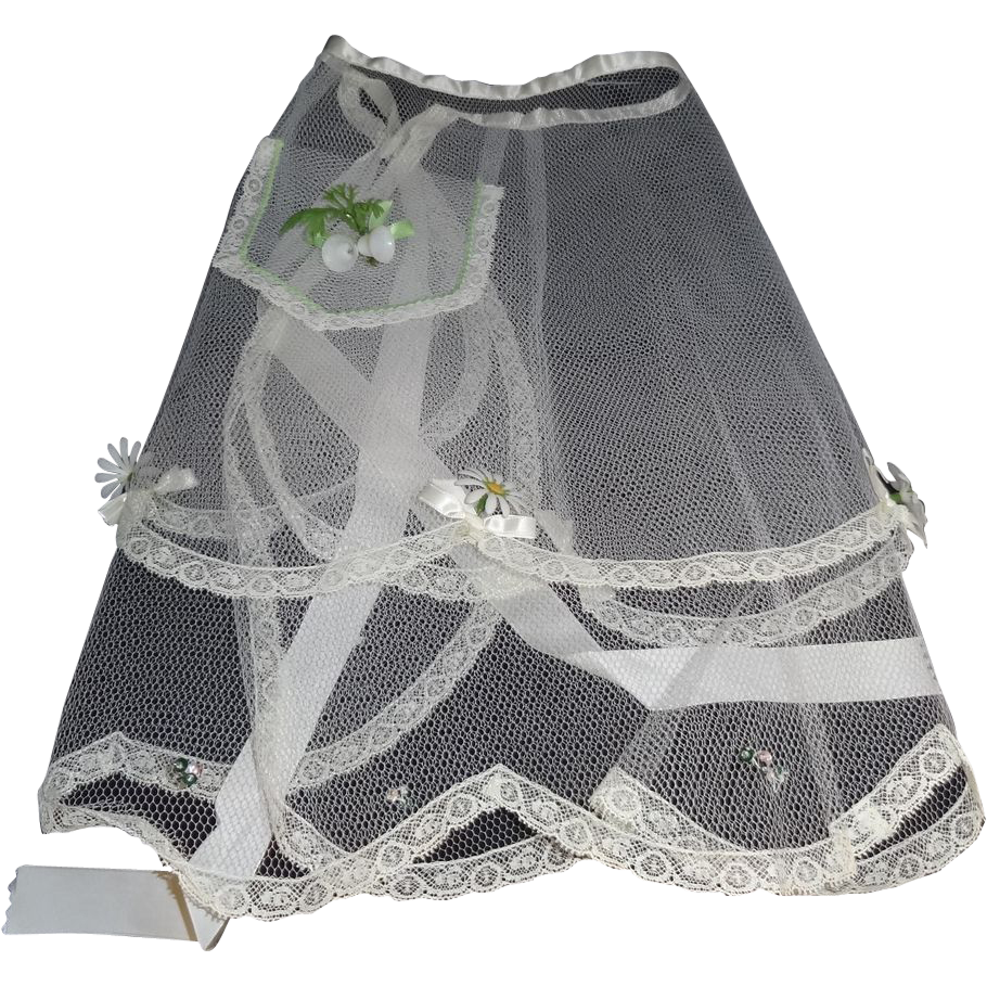 Vintage 1960's White Wedding Hostess Apron