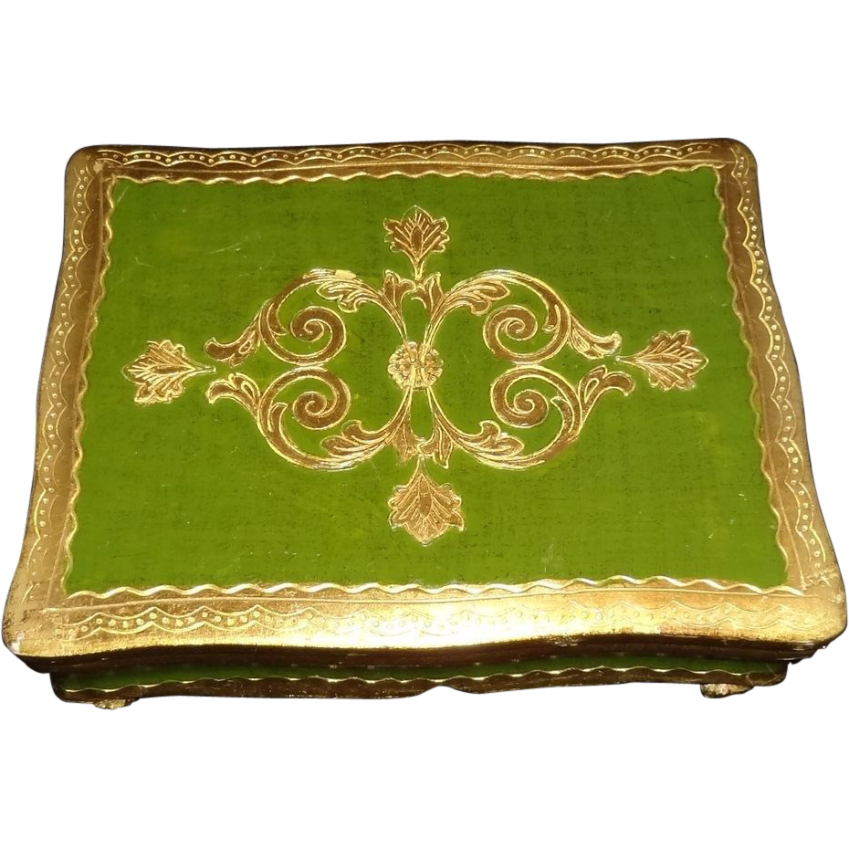Italian Florentine Gold Gilt Hand-Painted Footed Musical Jewelry Box