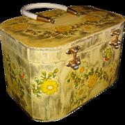 Vintage Handmade Floral Wooden Box Purse