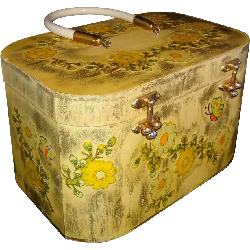 Vintage Handmade Floral Wooden Box Purse