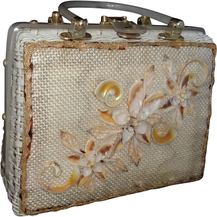 Vintage White Wicker with Sea Shells Under Vinyl Purse