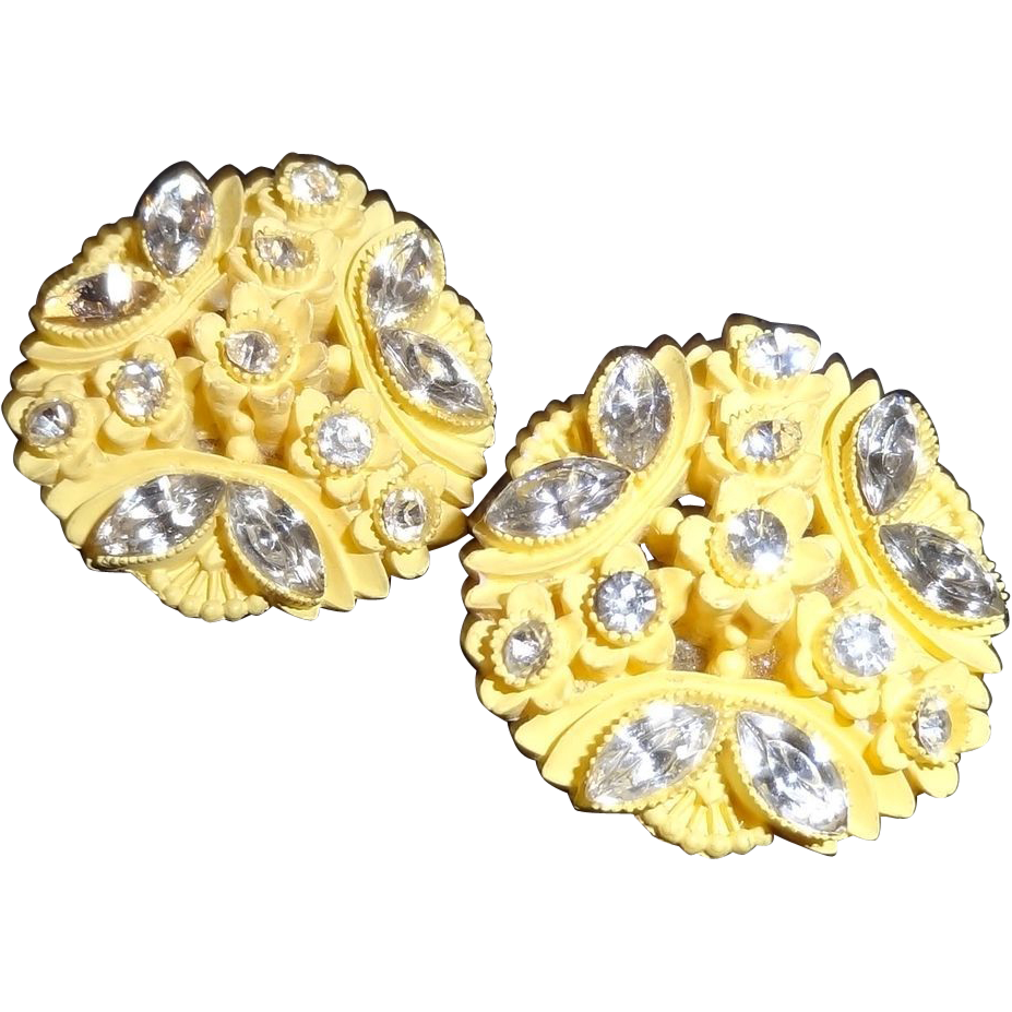 Yellow Celluloid and Rhinestone Earrings - Japan