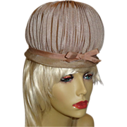 1960's Chic High Domed Pleated Hat