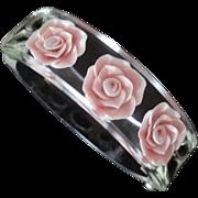 Clear Reverse Carved Lucite Floral Hinge Bracelet