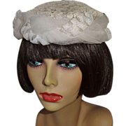 Vintage Off-White Lace and Tulle Hat