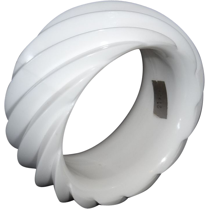 HUGE White Spiral Molded Plastic Bangle Bracelet Made in Western Germany