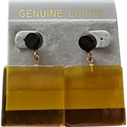Vintage Yellow Lucite Earrings ~ New Old Stock