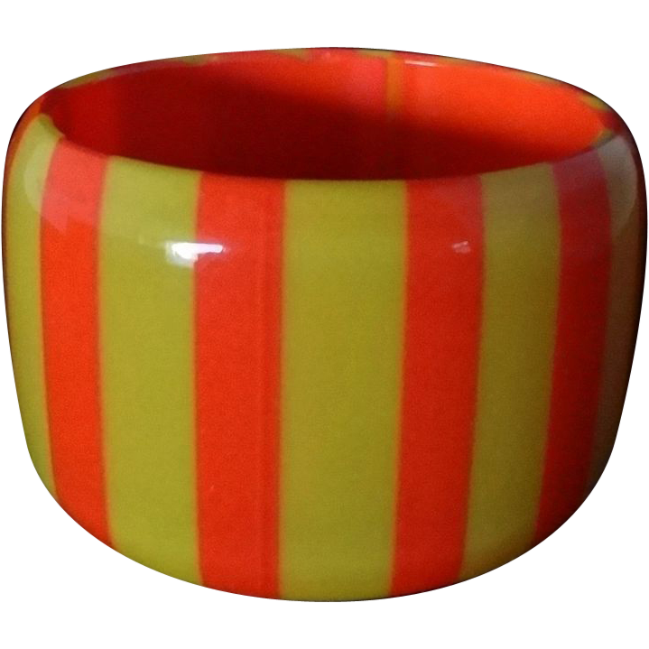 Vintage WIDE Orange and Yellow Striped Lucite Bangle Bracelet