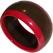 Vintage Brown and Magenta Lucite Bangle Bracelet