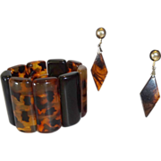 Vintage Faux Tortoiseshell Lucite Stretch Bracelet and Earrings
