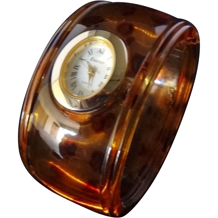 Vintage Tortoiseshell Colored Lucite Hinged Bangle Watch