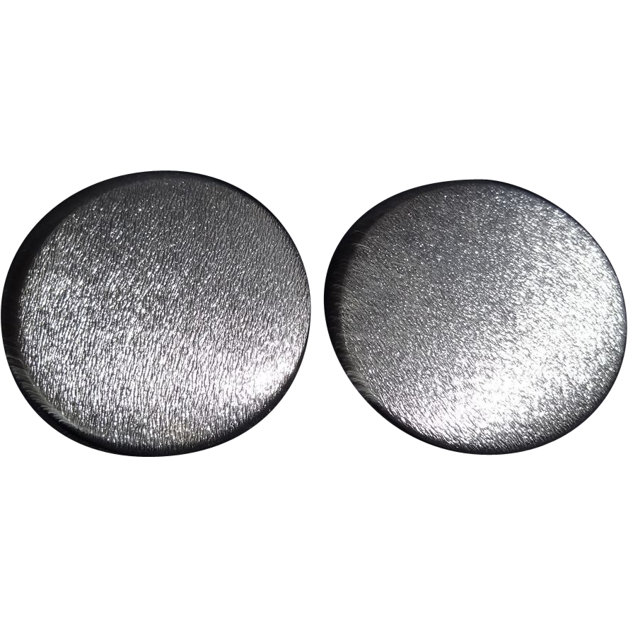 HUGE Brushed Silver Tone Metal Disc Earrings by Lisner