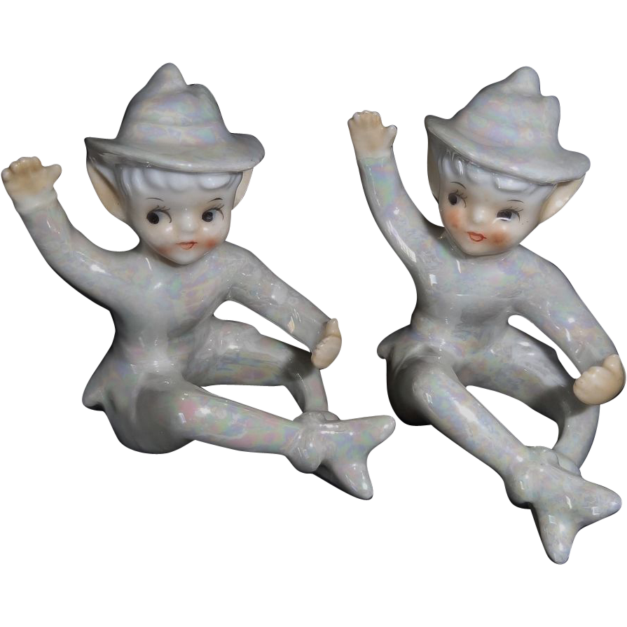 Vintage Lustreware Pixie Elf Candle Climbers Made in Japan