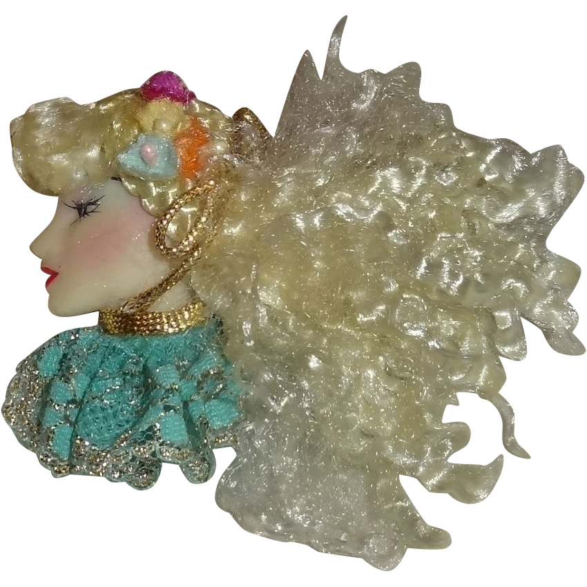 Vintage Large Blonde Lady Face Pin