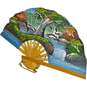 Stunning Vintage Hand-Painted Folding Fan