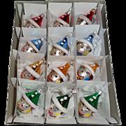 Box of 12  Polish Hand Made Glass Clown Christmas Ornaments MINT