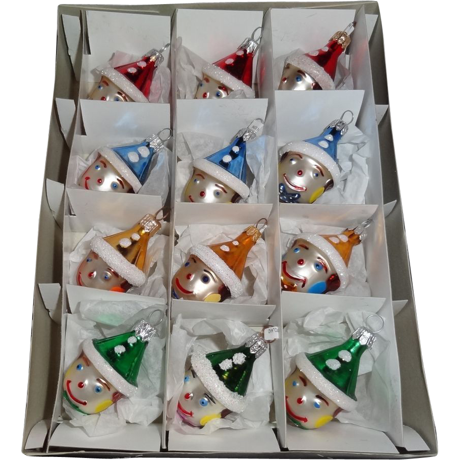 Box of 12  Polish Hand Made Glass Clown Christmas Ornaments MINT