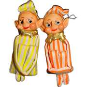 Vintage Pair of Knee-Hugger Elves Christmas Ornaments
