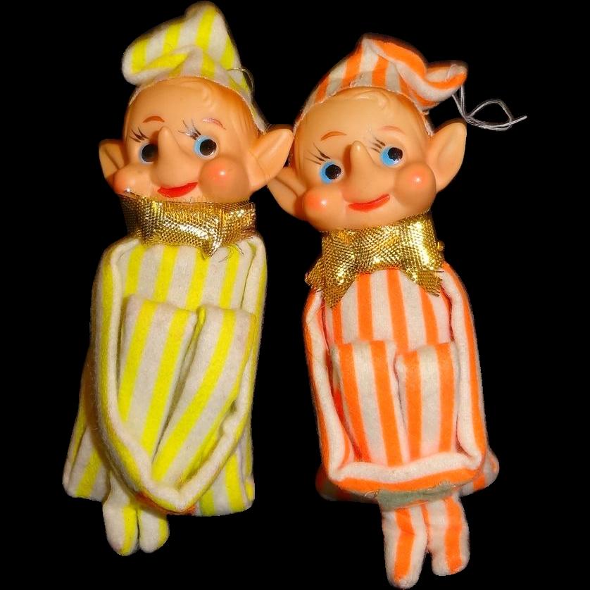 Vintage Pair of Knee-Hugger Elves Christmas Ornaments