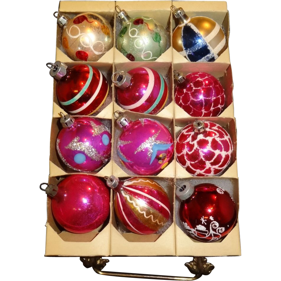 Box Small Glass Christmas Ornaments Poland, American , West Germany