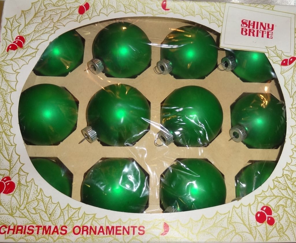 Shiny brite green satin finish glass christmas