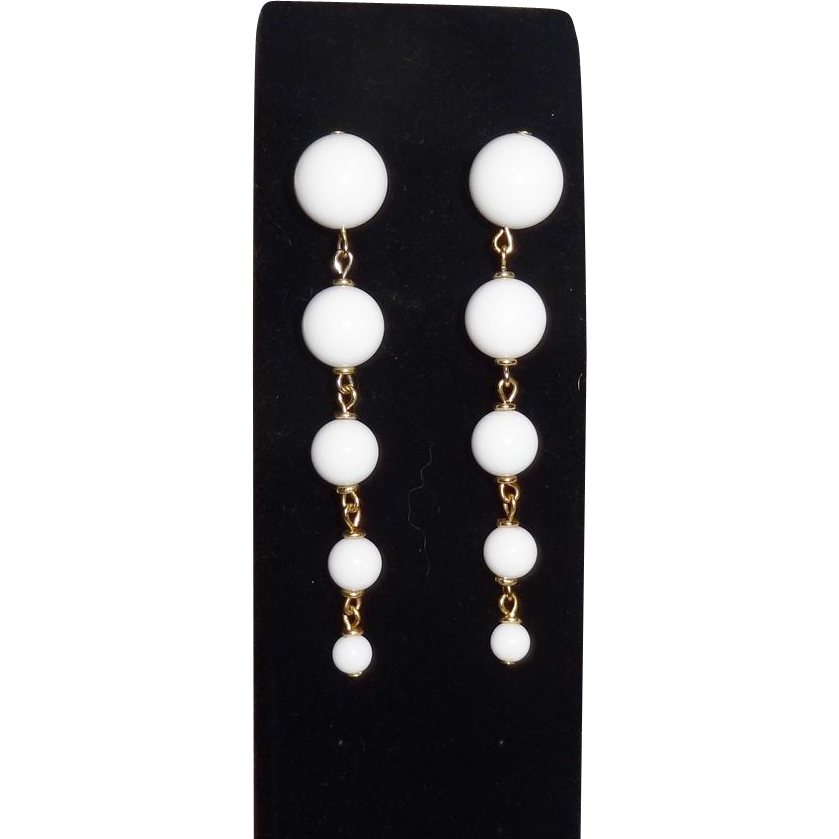 Vintage White Lucite Dangle Earrings