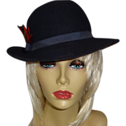 Vintage Chelton Blue/Black Wool Felt Hat with Red Stitching and Feather Accent
