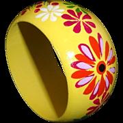 Vintage Wide Yellow Floral Wooden Bangle Bracelet