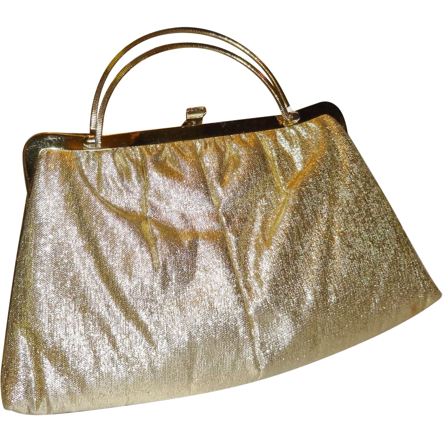Vintage Gold Lame`Convertible Clutch Purse