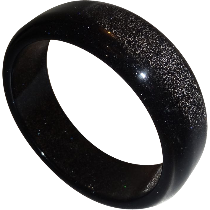 Vintage Translucent Lucite Bangle with Embedded Glitter