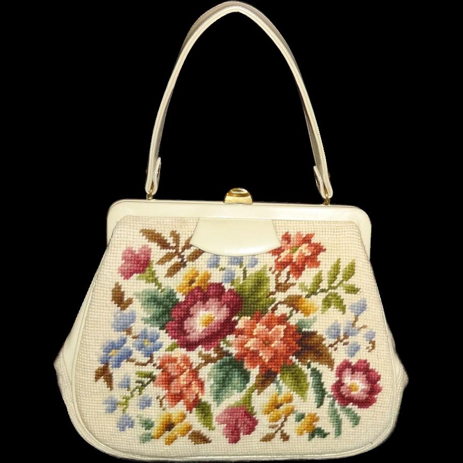 Vintage Floral Tapestry Handbag by Martha Klein