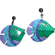 Vintage Puffy Wooden Fish Clip Earrings