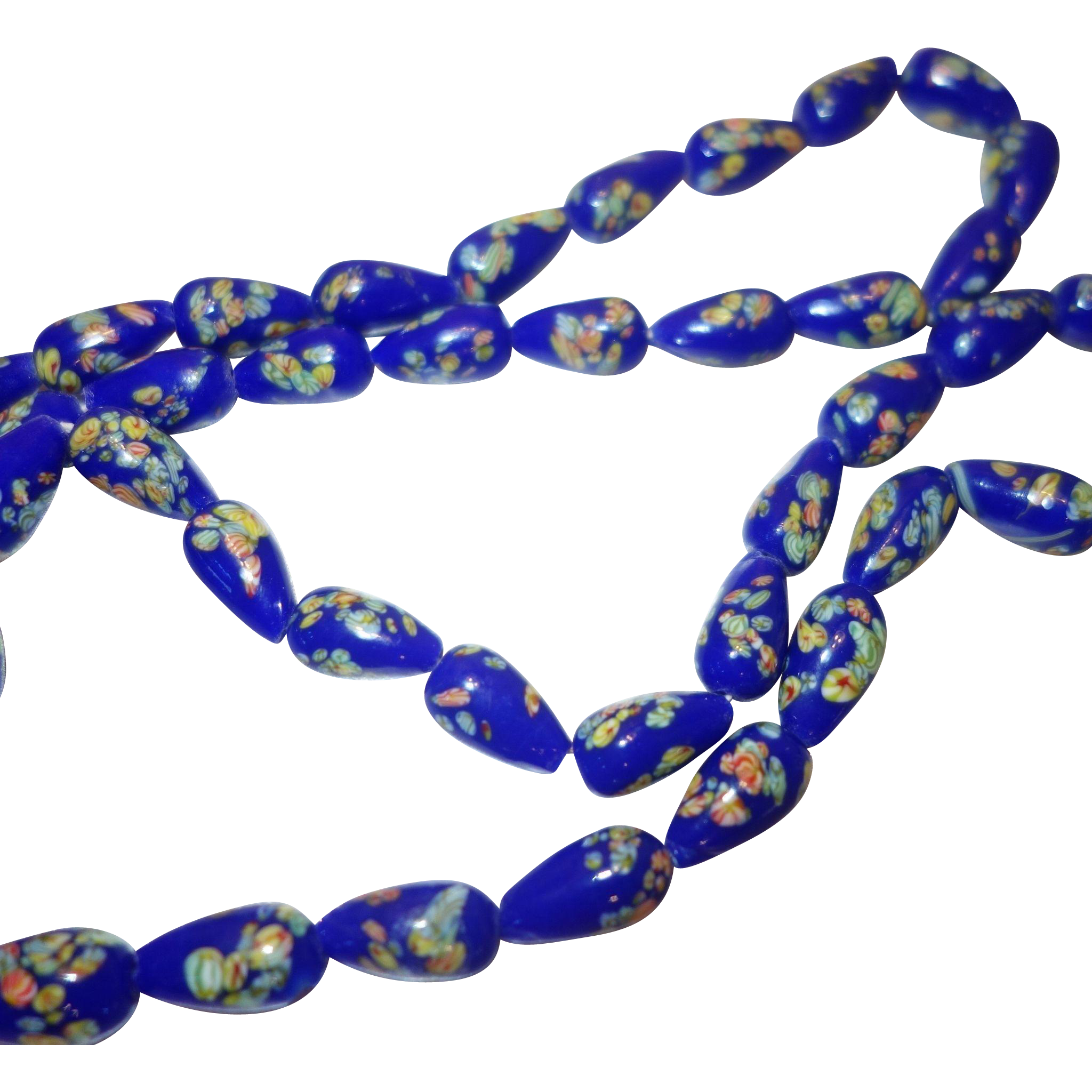 Vintage Cobalt Blue Glass Millefiori Beaded Necklace