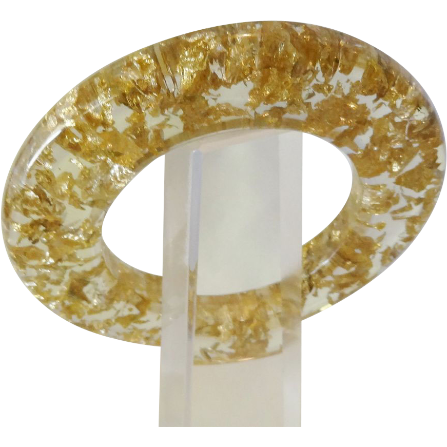 Vintage Sliced Gold Tone Confetti Lucite Bracelet