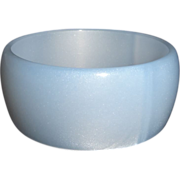 Vintage Blue Moonglow Lucite Bangle Bracelet