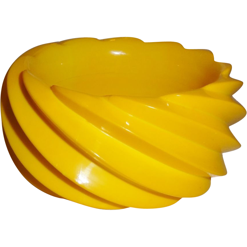 Vintage Wide Yellow Molded Spiral Plastic Bangle Bracelet Made in Western Germany