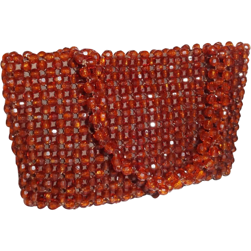 Vintage Brown Plastic Beaded Purse