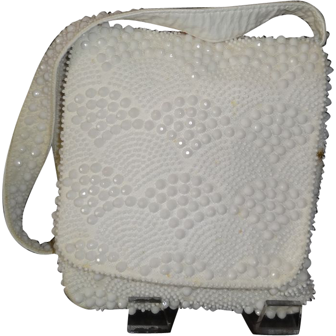 Vintage White Beaded Multi-Compartment Shoulder Purse