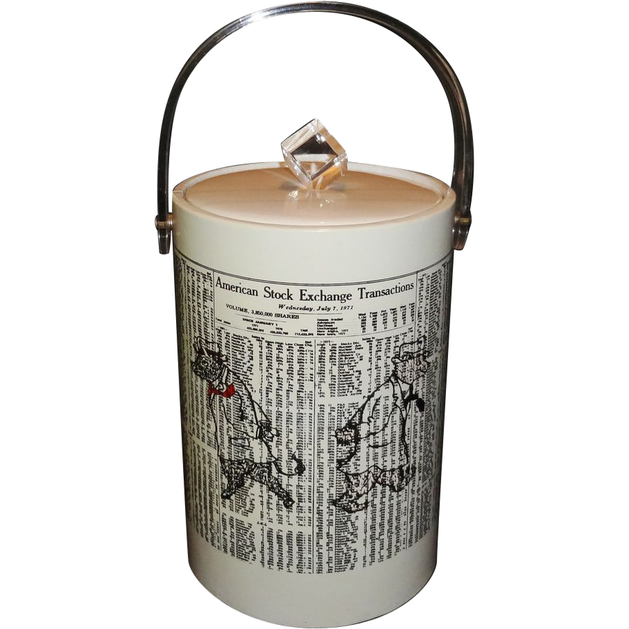 "Vintage Tall Vinyl Ice Bucket ""New York Stock Exchange Transactions"" with Clear Lucite Handle"