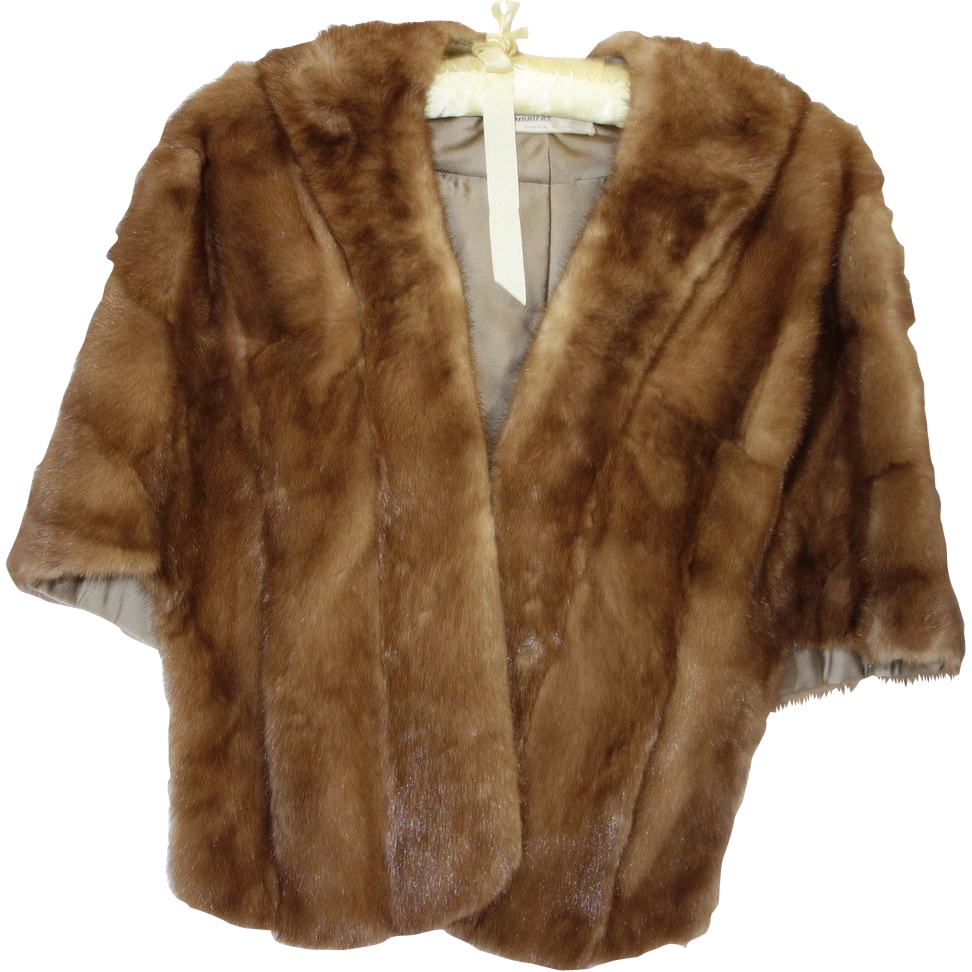 Vintage Elegant 1960's Mink Stole with Collar  by Alaska Furriers