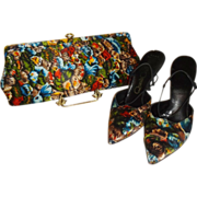 Vintage Vibrant 1960's Satin QualiCraft Shoes with Matching Clutch