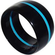 Vintage Wide Black Lucite Bangle Bracelet with Blue Stripe