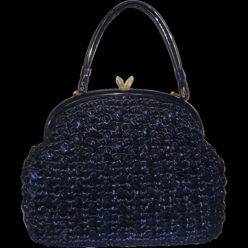 Vintage Large Structured Navy Blue Raffia Handbag
