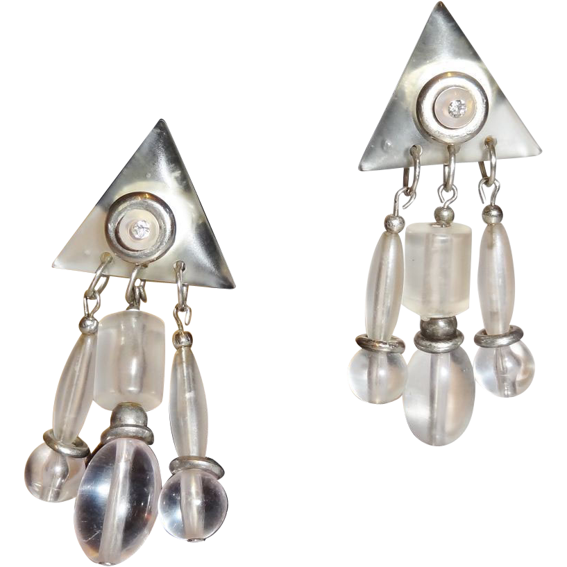 Vintage Sixties Clear Lucite Dangle Earrings