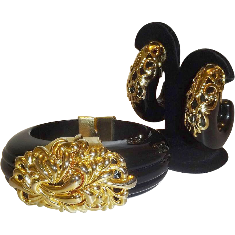 Vintage Inna Cytrine Lucite Clamper Bracelet and Earrings
