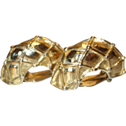 Givenchy HUGE Gold Tone Metal Clip Earrings