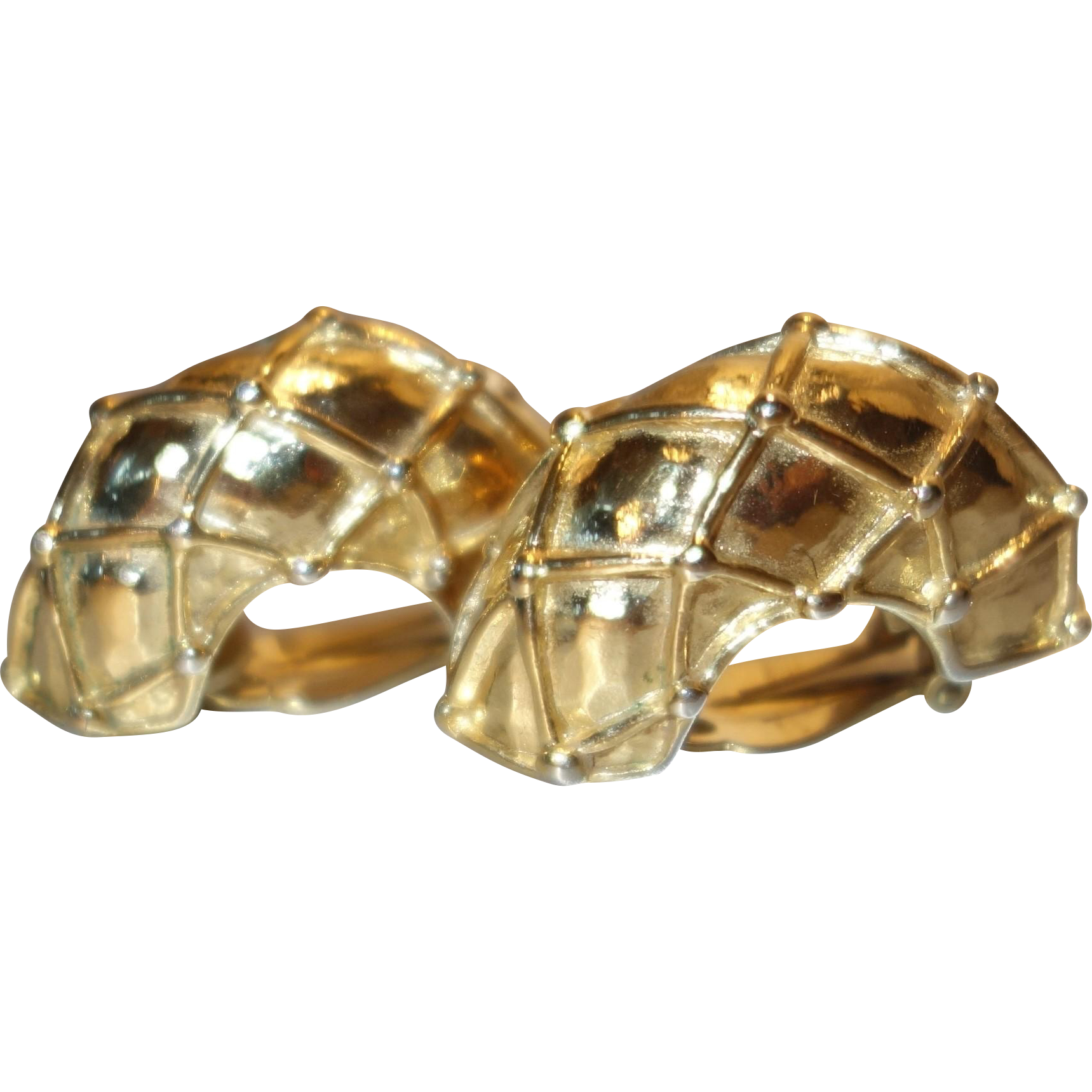 Vintage HUGE Givenchy Gold Tone Metal Clip Earrings
