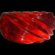 HUGE Red Transparent Spiral Lucite Bangle Bracelet Made in Western Germany
