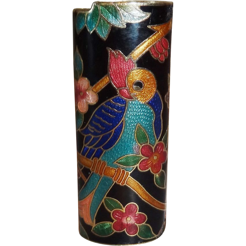Vintage Black Parrot Cloisonne Lighter Cover MINT